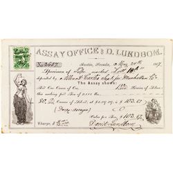 D. Lundbom Assay Sheet, Austin, Nevada 1867 w/ NV Revenue Stamp, Pictorial