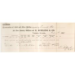 E. Ruhling & Co. Assay Memorandum, Summit Mill, Virginia City, Nevada 1869