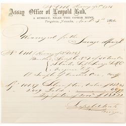 Leopold Kuh 1866 Assay Letterhead