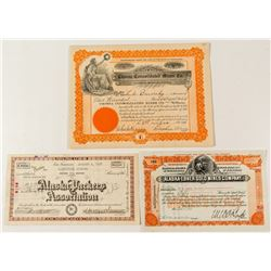 Three Different Alaska Mining Stock Certificates
