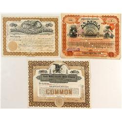 Three Rare Alaska Mining Stock Certificates