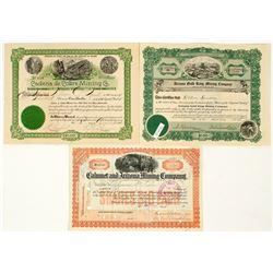 Three Different Bisbee, Arizona Mining Stock Certificates