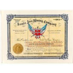Santa Ana Mining Company Stock Certificate, 1898