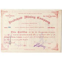 Bradshaw Mining Company Stock, Tombstone, A.T. 1881