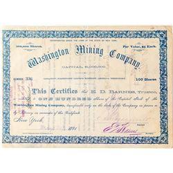 Washington Mining Company Stock, Tombstone, A.T. 1881