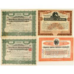 Arizona Mining Stock Certificates: Bouse, Pine Grove, Harquahala