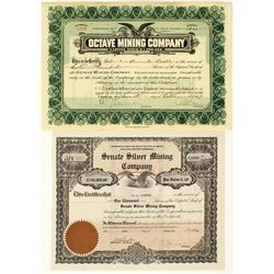 Octave and Congress Mining Stock Certificate Pair