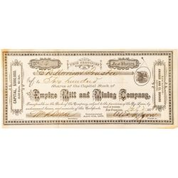 Empire Mill and Mining Company Stock Certificate