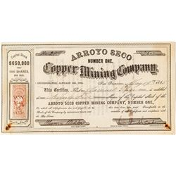 Arroyo Seco Number One Copper Mining Company Stock Certificate