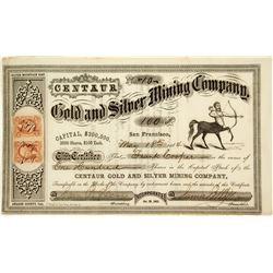 Centaur Gold & Silver Mining Company Stock Certificate
