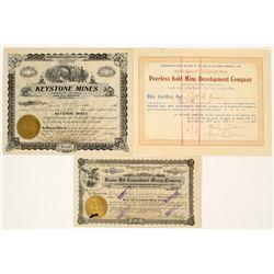 Three Different Amador Mining Stock Certificates