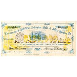 Rozencrans & Antelope Ext. Gold & Silver Mining Stock, Aurora, Mono County 1867