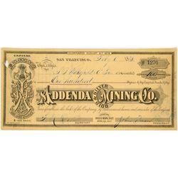 Addenda Gold & Silver Mining Company Stock Certificate