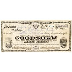 Goodshaw Mining Company Stock, Bodie, Cal. by Grafton T. Brown Lithographer