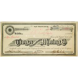 Tioga Consolidated Mining Company Stock Certificate