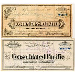 Two Different Bodie Mining Stock Certificates