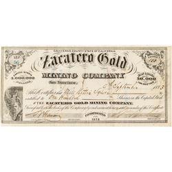 Rare Zacatero Gold Mining Company Stock Certificate
