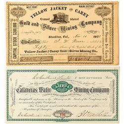 Two Calaveras County Mining Stock Certificates