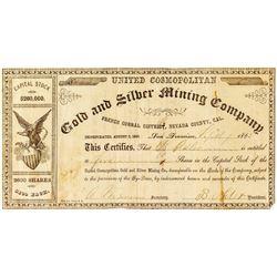 United Cosmopolitan Gold & Silver Mining Company Stock Certificate
