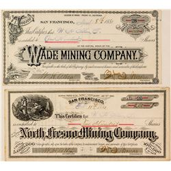 Two Different Fresno Mining Stock Certificates