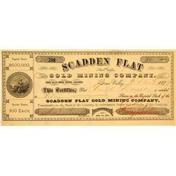 Scadden Flat Gold Mining Company Stock Certificate