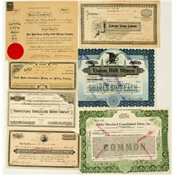 Grass Valley & Nevada City Mining Stock Certificate Collection