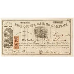 Ione Copper Mining Company Stock Certificate