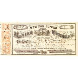 Newton Copper Mining Company Stock Certificate