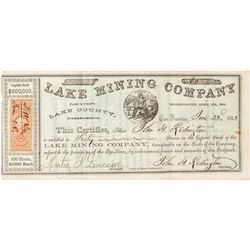 Early Lake Mining Company Stock Certificate