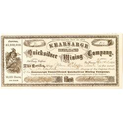 Kearsarge Cons. Quicksilver Mining Company Stock Certificate, 1875