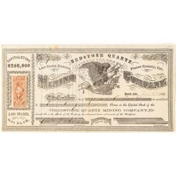 Early Certificate # 4 for Redstone Quartz Mining Company of Lost Camp