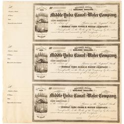 Middle Yuba Canal Water Company Stock Certificates