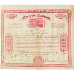 Mariposa Company: Early 1866 Fremont Related Stock Certificate