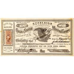Excelsior Consolidated Gold & Silver Mining Company Stock Certificate