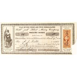 Flag of our Union and Twin Consolidated Gold and Silver Mining Company Stock Certificate