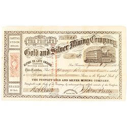 People's Gold & Silver Mining Co., Alpine County, late Amador Stock Certificate