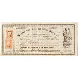 Mountain Oak Gold and Silver Mining Company Stock Certificate (Amador County, Silver Mountain Distri