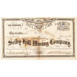 Selby Hill Mining Company Stock Certificate: Nevada County