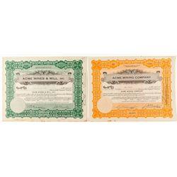 Two Oat Hill / Calistoga Mining Stock Certificates