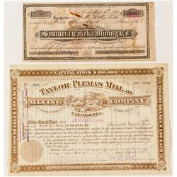 Two Plumas County Mining Stock Certificates