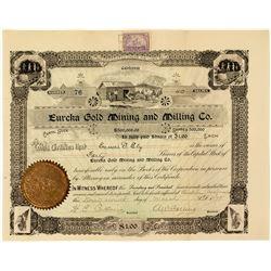 Eureka Gold Mining & Milling Company Stock Certificate