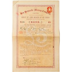 Bond for The San Bernardino Mining Company, Limited