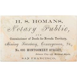 Business Card for HS Homans: Commissioner of Deeds for Nevada Territory
