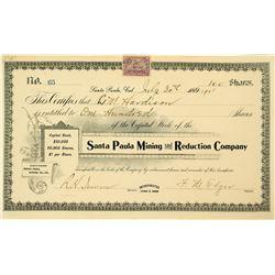 Santa Paula Mining & Reduction Company Stock Certificate