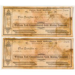 Rare Pair of Sierra City Mining Stock Certificates