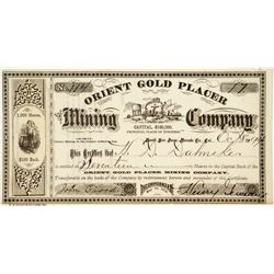 Orient Gold Placer Mining Company Stock Certificate