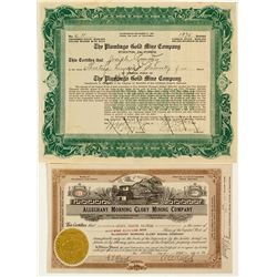 Sierra County Gold Mining Stock Certificate Pair