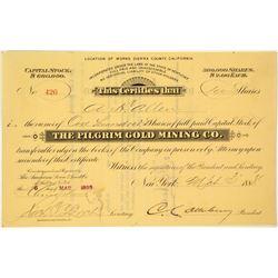 The Pilgrim Gold Mining Company Stock Certificate
