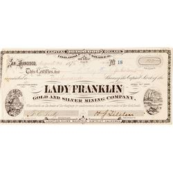 Lady Franklin Stock Certificate # 18 (G.T. Brown Lith.)