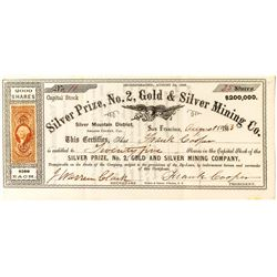 Silver Prize, No. 2, Gold & Silver Mining Co. Certificate (Amador County)